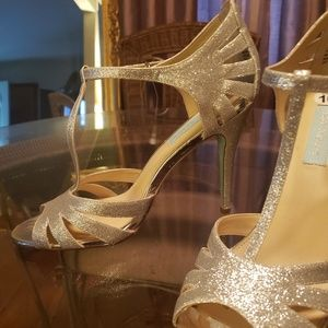 Betsey Johnson silver ankle strap silver heels. 10